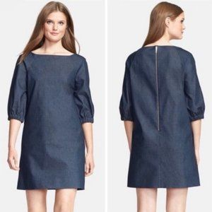 Kate Spade Blouson Sleeve Denim Shift Dress Blue 4